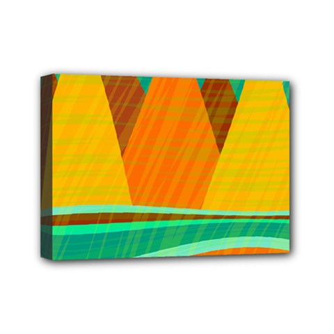 Orange and green landscape Mini Canvas 7  x 5