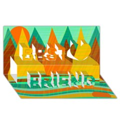 Orange and green landscape Best Friends 3D Greeting Card (8x4)