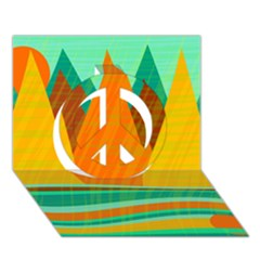 Orange and green landscape Peace Sign 3D Greeting Card (7x5)