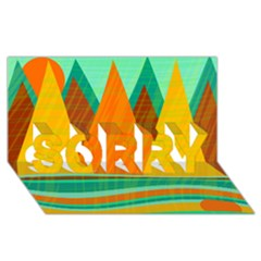 Orange and green landscape SORRY 3D Greeting Card (8x4)