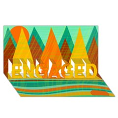 Orange and green landscape ENGAGED 3D Greeting Card (8x4)