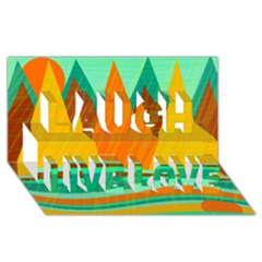 Orange and green landscape Laugh Live Love 3D Greeting Card (8x4)