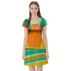 Orange and green landscape Short Sleeve Skater Dress