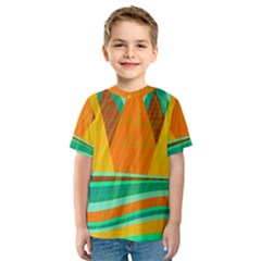 Orange and green landscape Kids  Sport Mesh Tee
