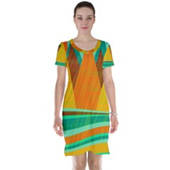 Orange and green landscape Short Sleeve Nightdress