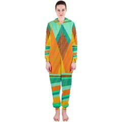 Orange and green landscape Hooded Jumpsuit (Ladies)