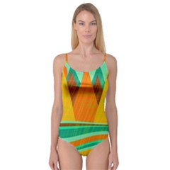 Orange and green landscape Camisole Leotard