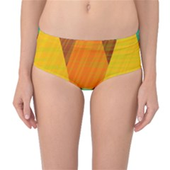 Orange and green landscape Mid-Waist Bikini Bottoms