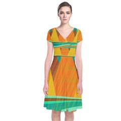 Orange and green landscape Short Sleeve Front Wrap Dress