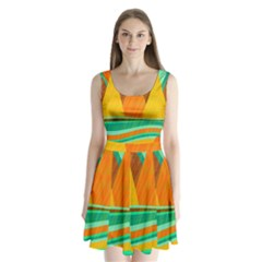 Orange and green landscape Split Back Mini Dress