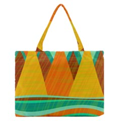 Orange and green landscape Medium Zipper Tote Bag