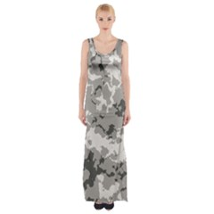 Winter Camouflage Maxi Thigh Split Dress