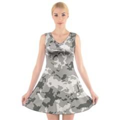Winter Camouflage V Neck Sleeveless Skater Dress
