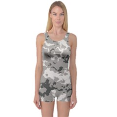 WINTER CAMOUFLAGE One Piece Boyleg Swimsuit