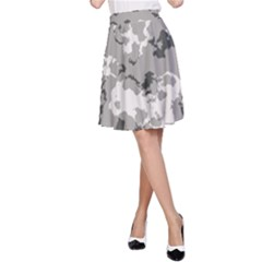 Winter Camouflage A Line Skirt