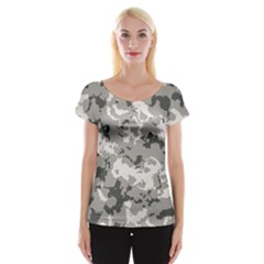 Winter Camouflage Women s Cap Sleeve Top