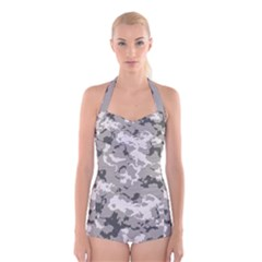 WINTER CAMOUFLAGE Boyleg Halter Swimsuit