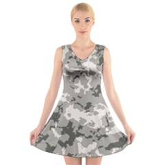 Winter Camouflage V Neck Sleeveless Skater Dress