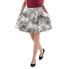 Winter Camouflage A Line Pocket Skirt