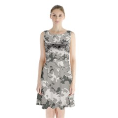 WINTER CAMOUFLAGE Sleeveless Chiffon Waist Tie Dress