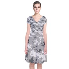 WINTER CAMOUFLAGE Short Sleeve Front Wrap Dress