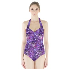 Purple Paisley Visions  Halter Swimsuit