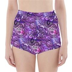Purple Paisley Visions  High-Waisted Bikini Bottoms