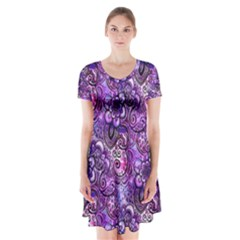 Purple Paisley Visions  Short Sleeve V Neck Flare Dress