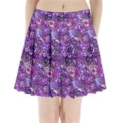 Purple Paisley Visions  Pleated Mini Skirt