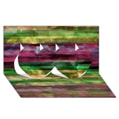 Colorful marble Twin Hearts 3D Greeting Card (8x4)