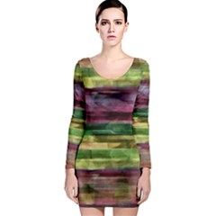 Colorful marble Long Sleeve Bodycon Dress
