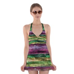 Colorful marble Halter Swimsuit Dress