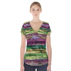 Colorful marble Short Sleeve Front Detail Top