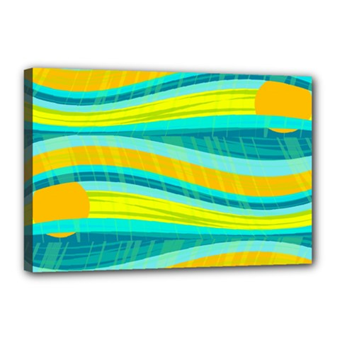 Yellow and blue decorative design Canvas 18  x 12