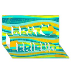 Yellow and blue decorative design Best Friends 3D Greeting Card (8x4)