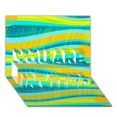 Yellow and blue decorative design YOU ARE INVITED 3D Greeting Card (7x5)