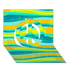 Yellow And Blue Decorative Design Peace Sign 3d Greeting Card (7x5)