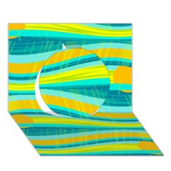 Yellow and blue decorative design Circle 3D Greeting Card (7x5)