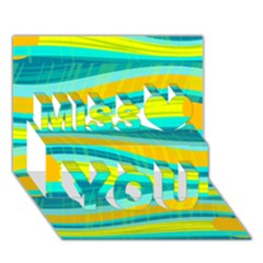 Yellow And Blue Decorative Design Miss You 3d Greeting Card (7x5)