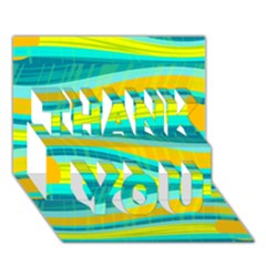 Yellow and blue decorative design THANK YOU 3D Greeting Card (7x5)