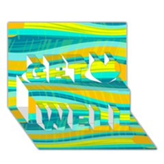 Yellow and blue decorative design Get Well 3D Greeting Card (7x5)