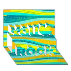 Yellow and blue decorative design You Rock 3D Greeting Card (7x5)