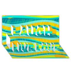 Yellow and blue decorative design Laugh Live Love 3D Greeting Card (8x4)