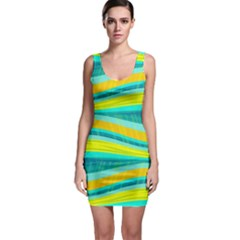 Yellow and blue decorative design Sleeveless Bodycon Dress