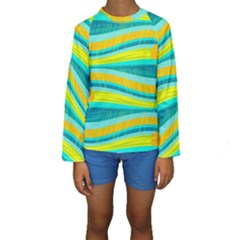 Yellow and blue decorative design Kids  Long Sleeve Swimwear
