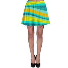 Yellow and blue decorative design Skater Skirt