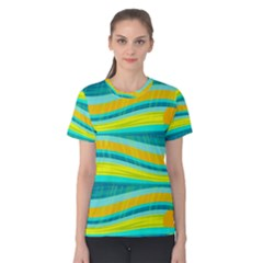 Yellow and blue decorative design Women s Cotton Tee