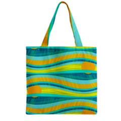 Yellow and blue decorative design Grocery Tote Bag