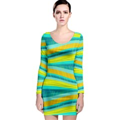 Yellow and blue decorative design Long Sleeve Bodycon Dress