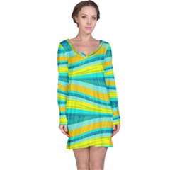 Yellow and blue decorative design Long Sleeve Nightdress
